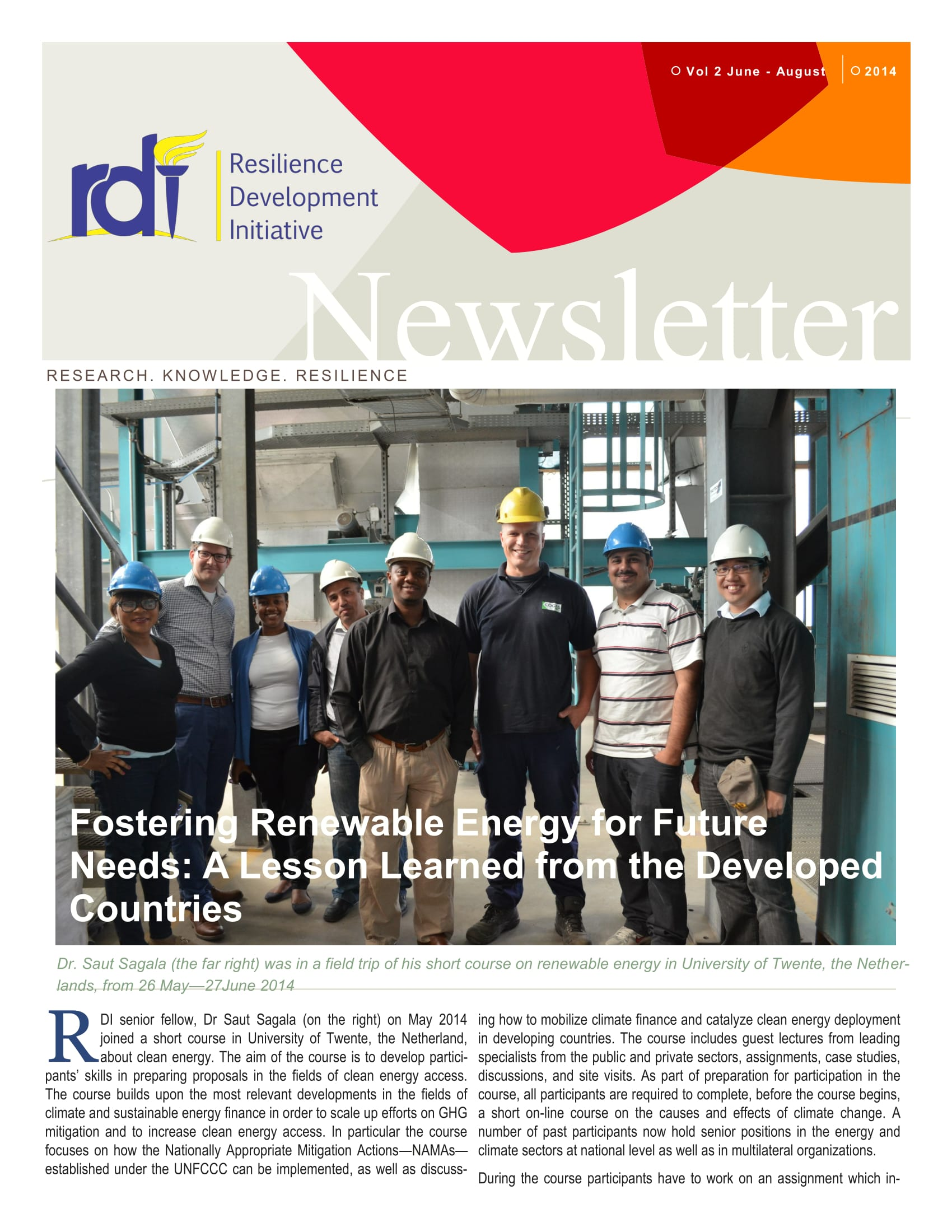 Resilience Development Initiative [RDI] June-August Newsletter Vol. 1-2