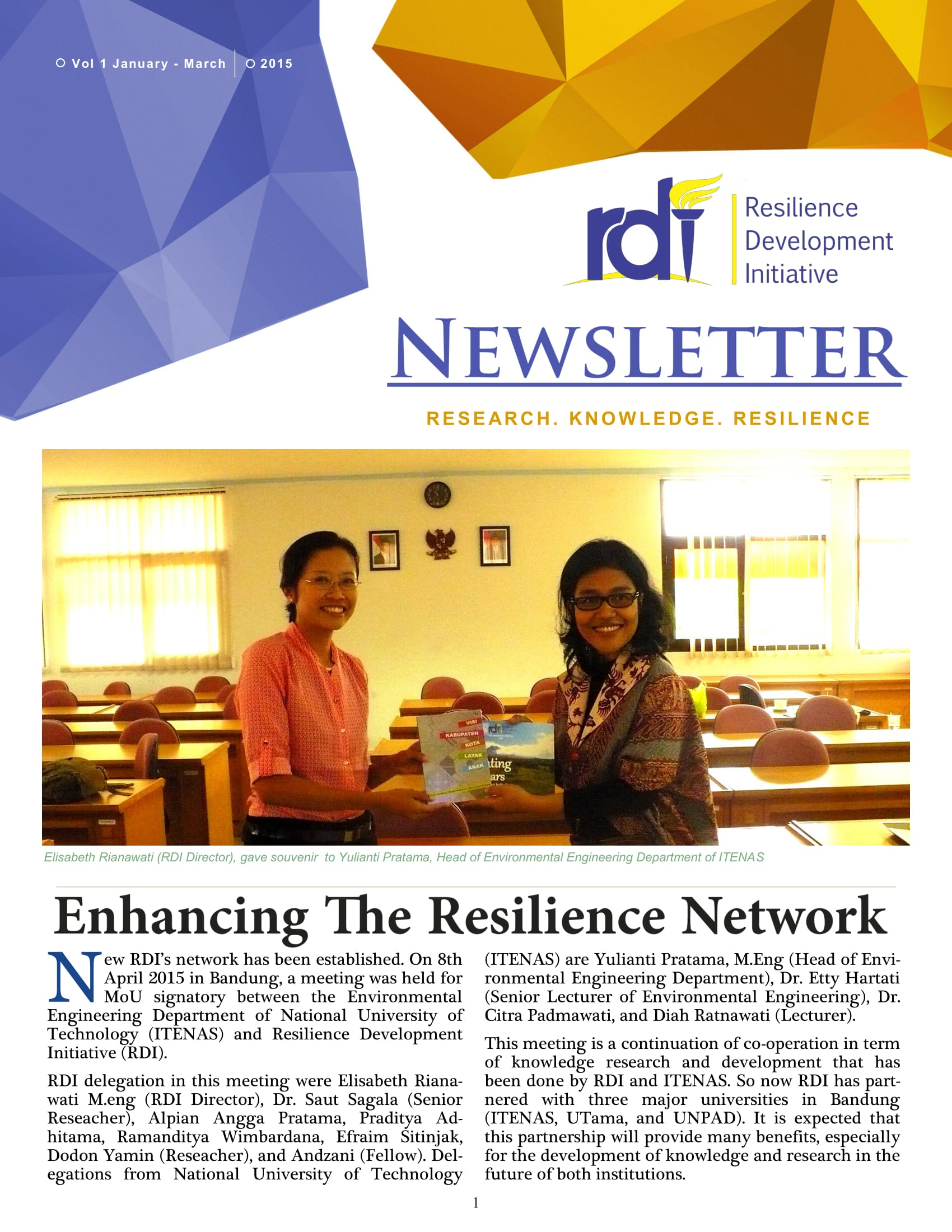 Resilience Development Initiative [RDI] January-March Newsletter Vol. 2-1