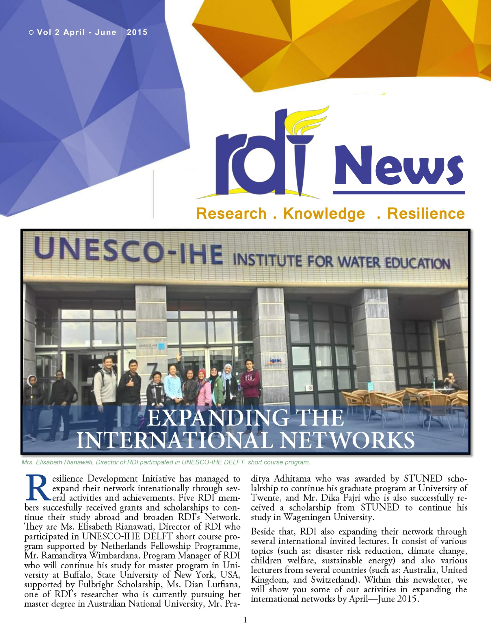 Resilience Development Initiative [RDI] April-June Newsletter Vol. 2-2