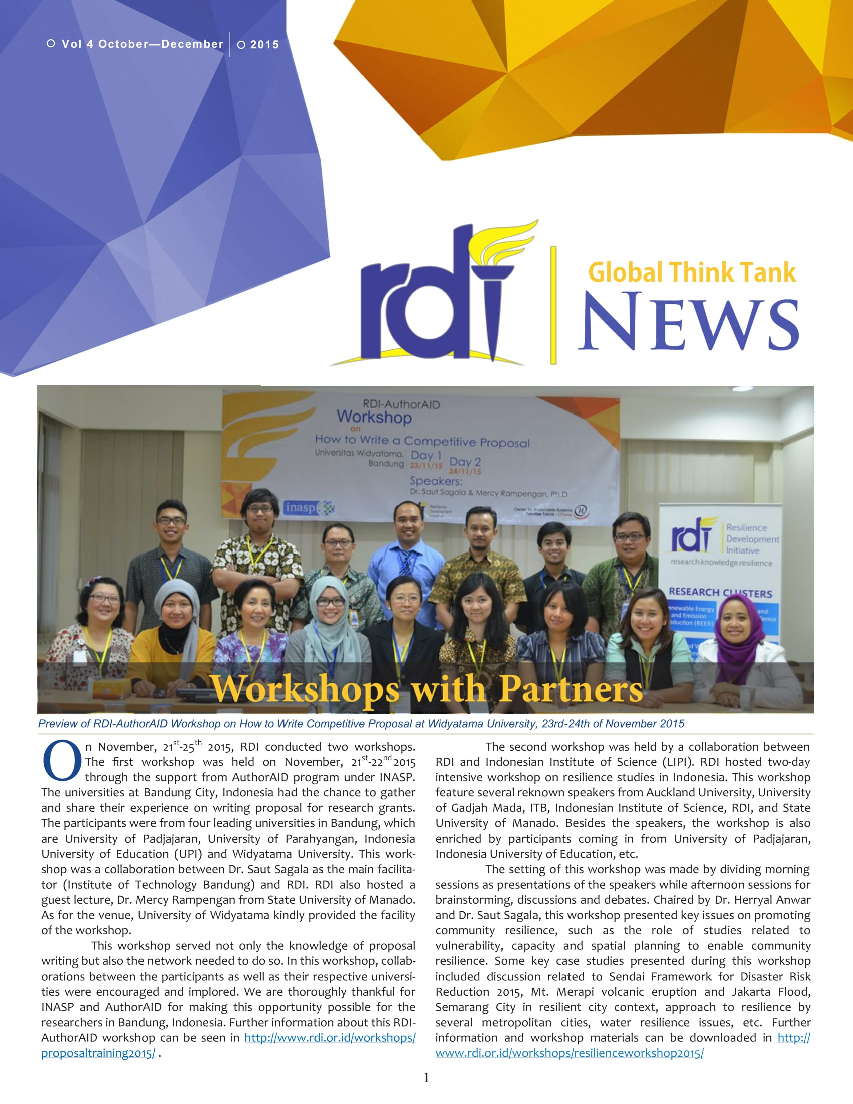Resilience Development Initiative [RDI] October-December Newsletter Vol. 2-4